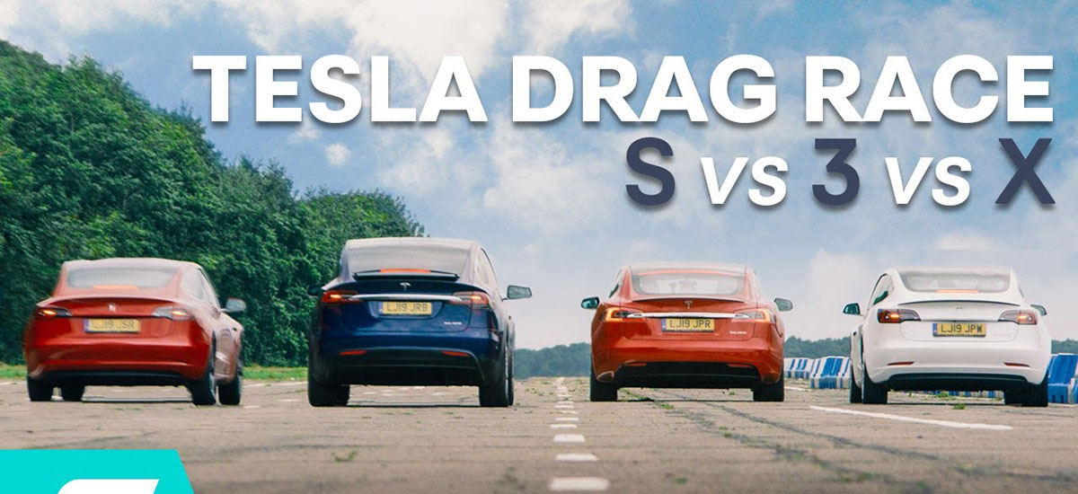 Tesla Model 3 Performance vs. Model S P100D vs. Model X vs. Model 3 Standard Range Plus drag race.