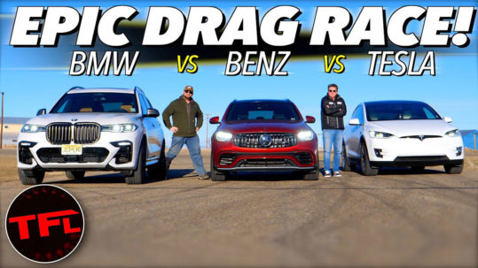 Tesla Model X vs. BMW X7 M50i vs. Mercedes-AMG GLC 63 drag race.