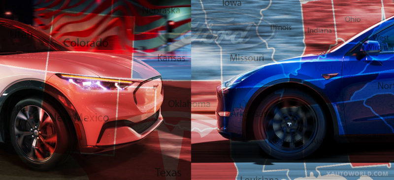 Tesla Model Y vs. Ford Mach-E. Geotagged data shows which state loves which crossover.