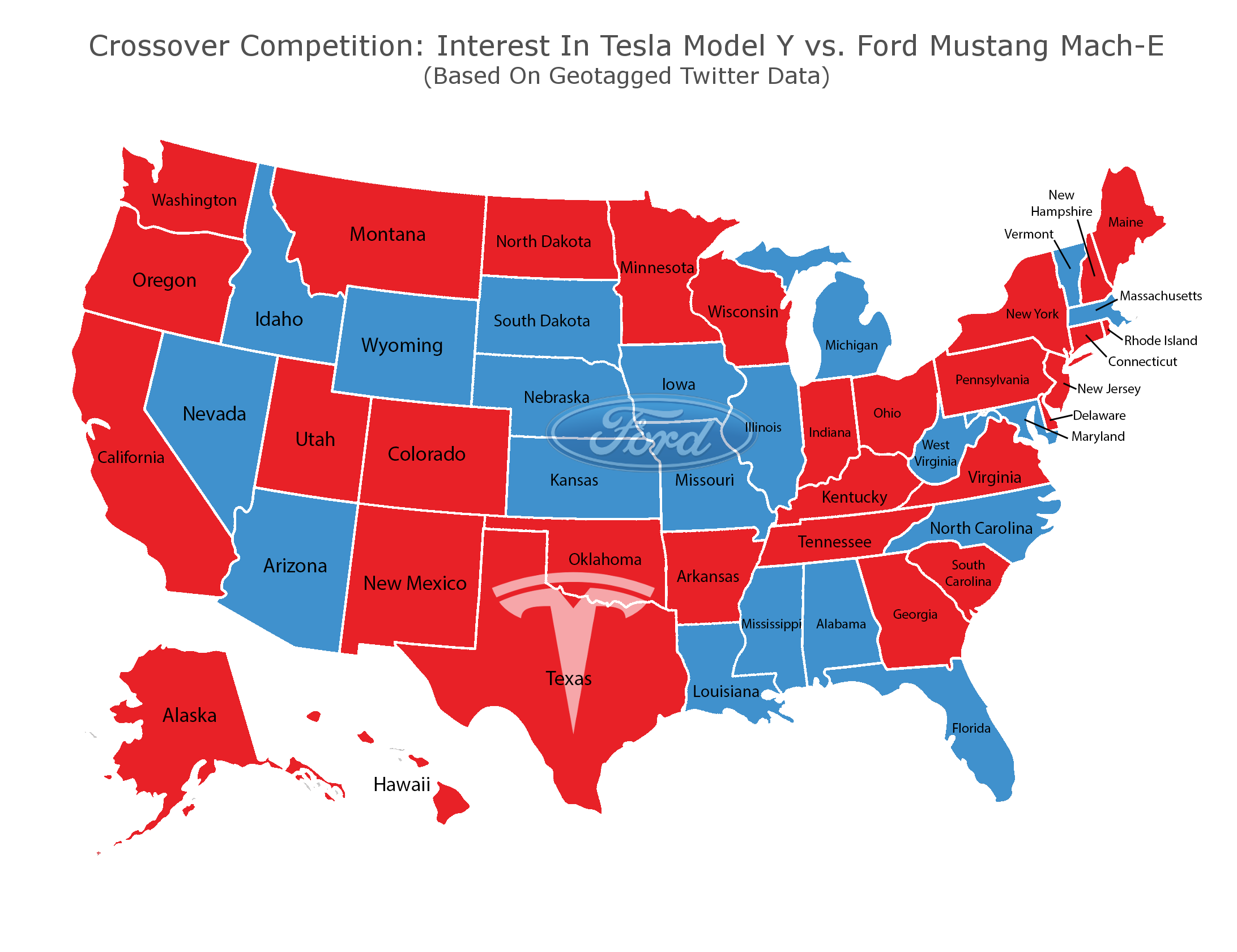 Interest in Tesla Model Y vs. Ford Mustang Mach-E based on geotagged Twitter data.