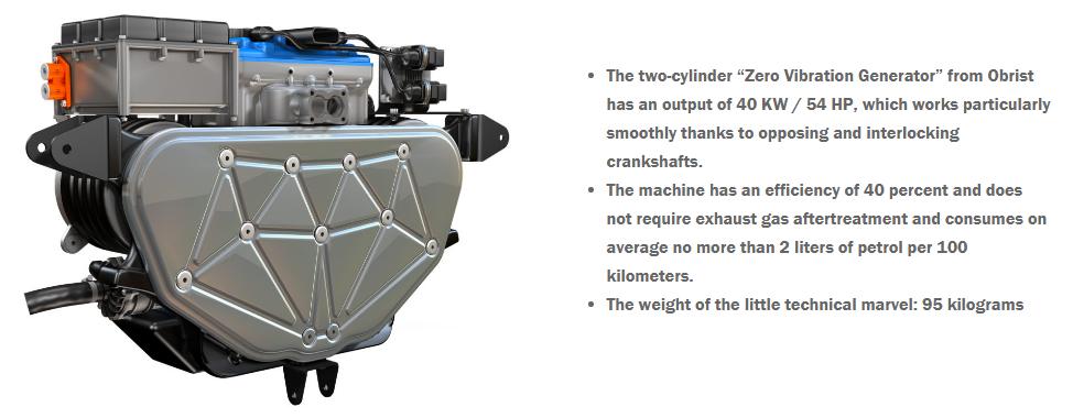 Ultra efficient 2 litre petrol generator installed in the converted Tesla Model 3.
