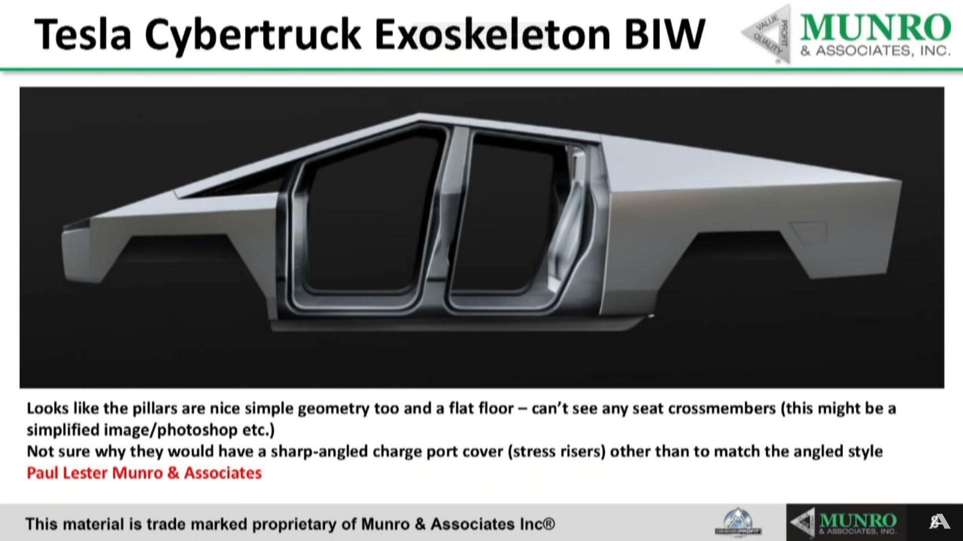 Tesla Cybertruck Exoskeleton (unibody) body-in-white (BIW).