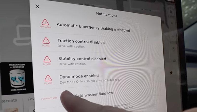 Tesla Dyno Mode warnings.