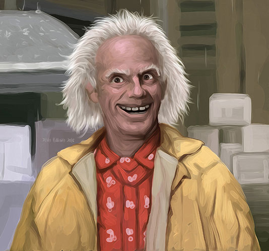 Doc Brown's smile after successfully testing the Cybertruck Time Machine 'LOL GAS'.