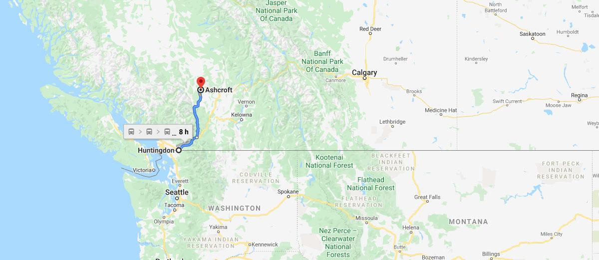 Tesla Semi path - Ashcroft to Huntingdon, British Columbia, the US - Canada border crossing.
