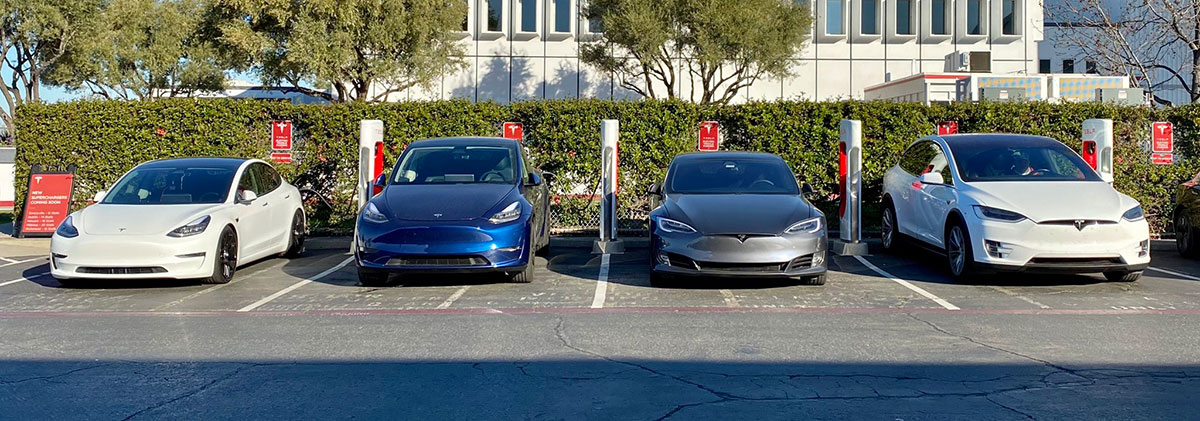 Tesla Model Y Supercharging along with Model 3, Model S, and Model X.