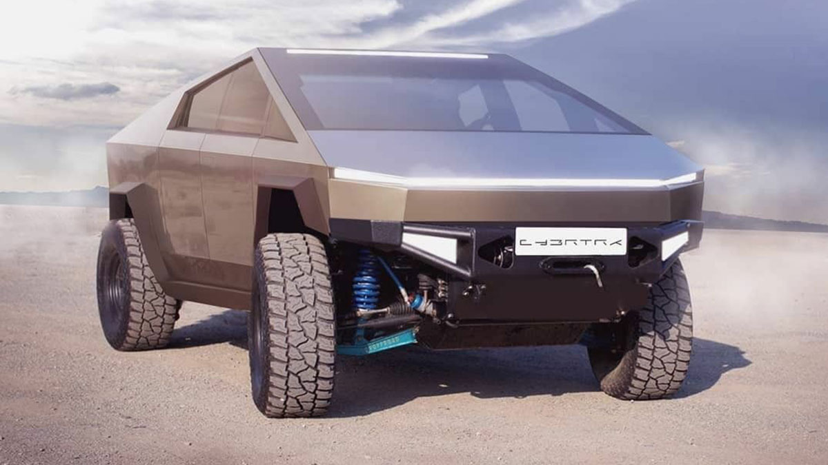 Tesla Cybertruck rendered from the front.