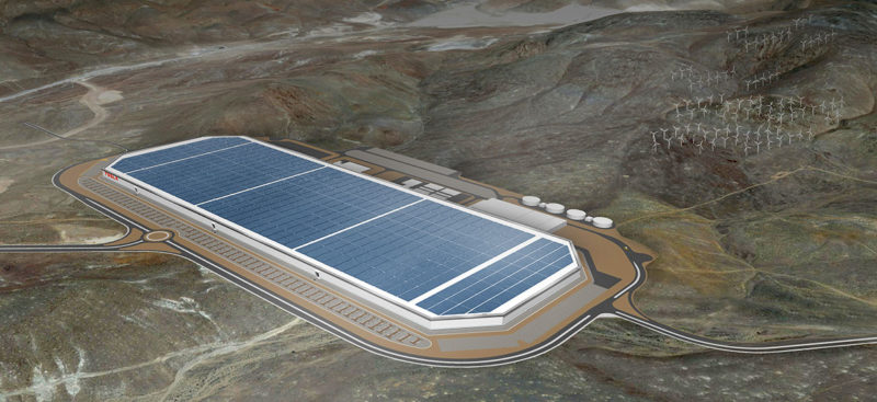 Tesla Gigafactory 1 concept aerial view.