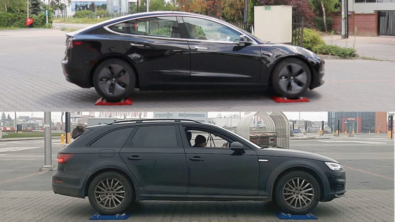 Tesla Model 3 vs. Audi A4 - AWD vs. Qauttro traction control tests.