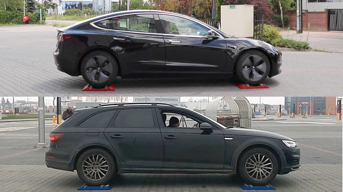 Tesla Model 3 vs. Audi A4 - AWD vs. Qauttro traction control tests.