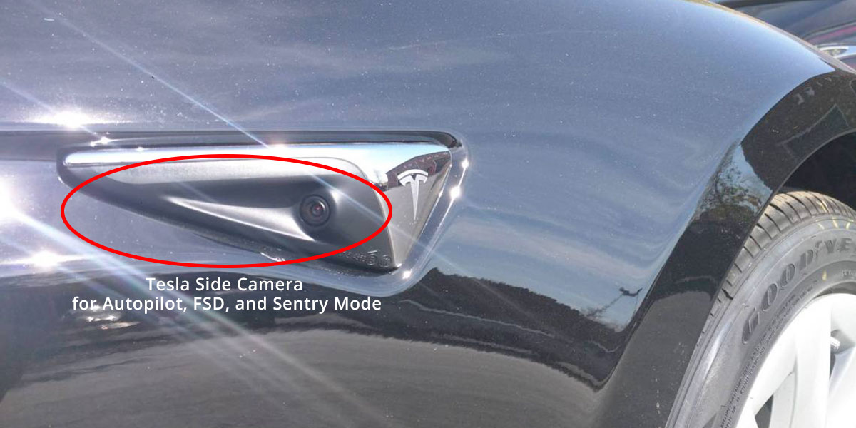 Tesla Side Repeater Camera for Autopilot, FSD, and Sentry Mode. In the future will be used for backing up the car.