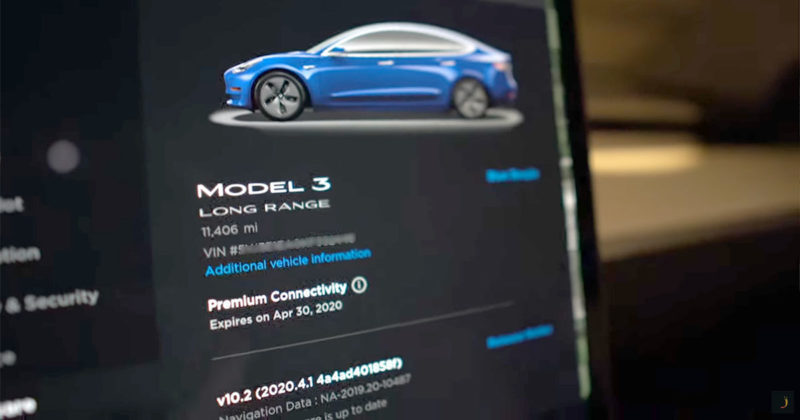 Tesla Software version 2020.4.1 on a Tesla Model 3.