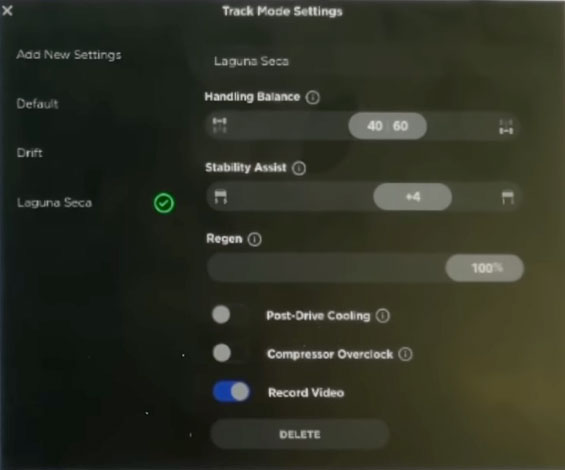 Track Mode settings in the 2020.8.1 Tesla firmware update.