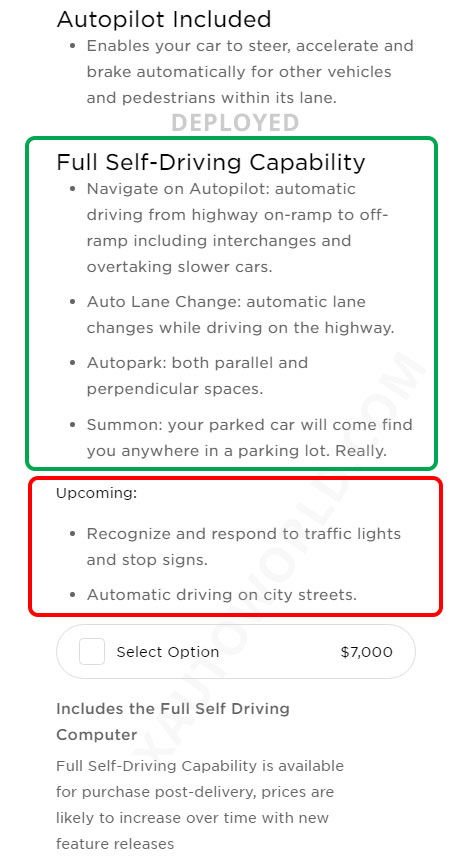 Full Self Driving features list in the Tesla online car configurator.