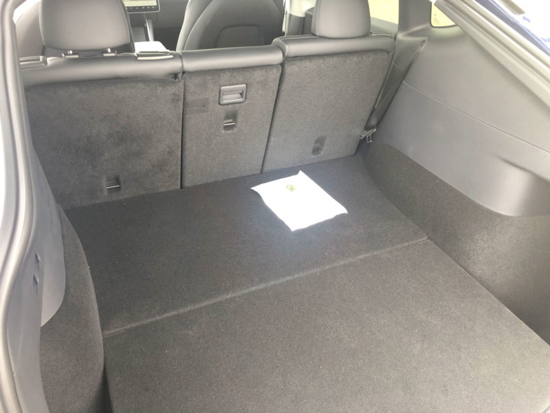 Tesla Model Y trunk space with 2nd-row seats up.