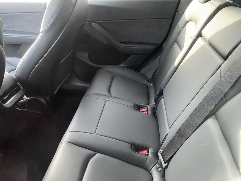 Tesla Model Y Interior - 2nd row seats, USB-C Ports visisble.