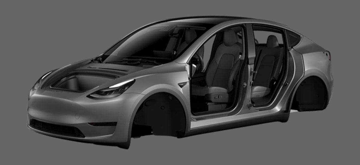 Tesla Model Y images appear in the Tesla Mobile App.