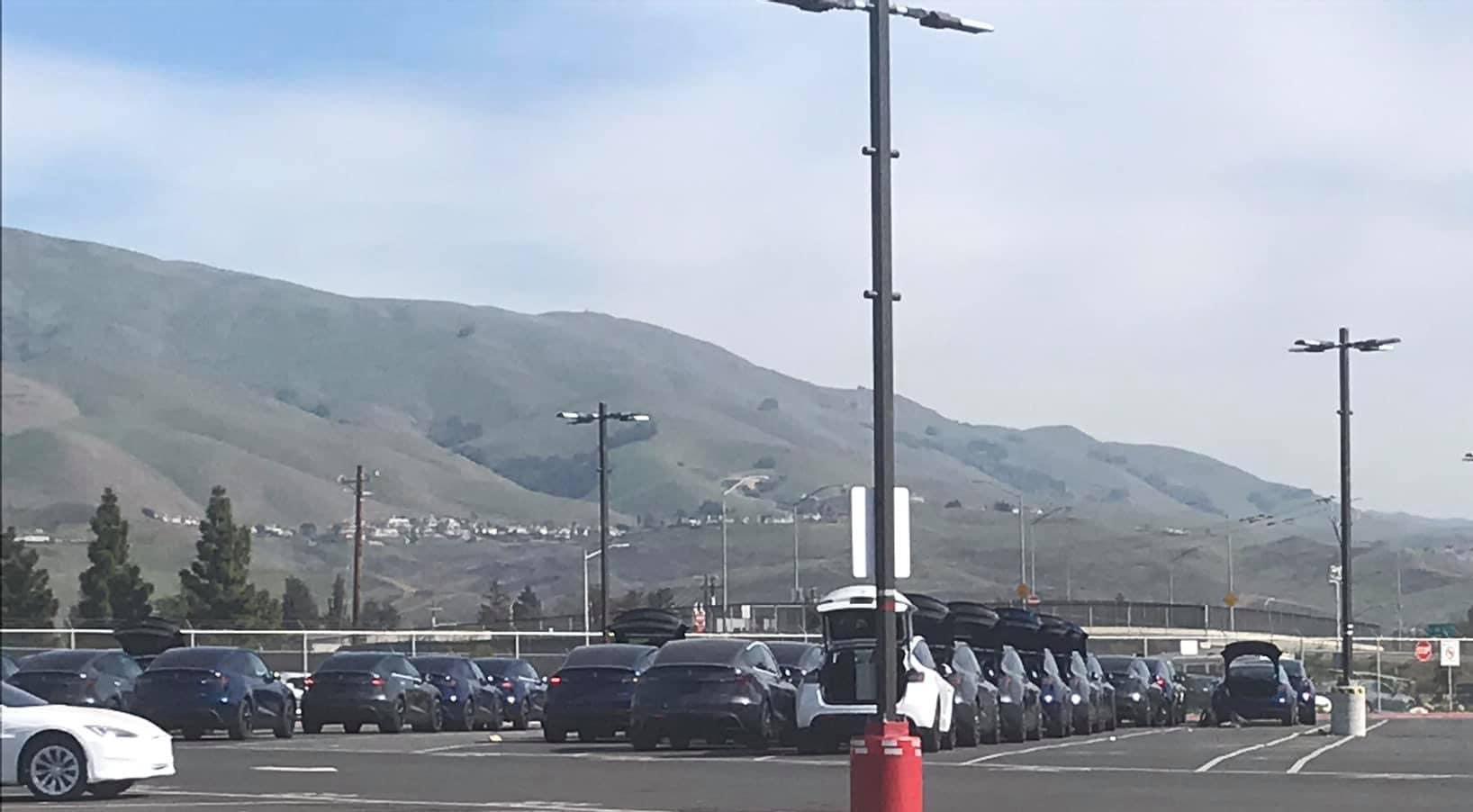 Tesla Model Y SUVs stockpiling at Tesla's Fremont car factory.