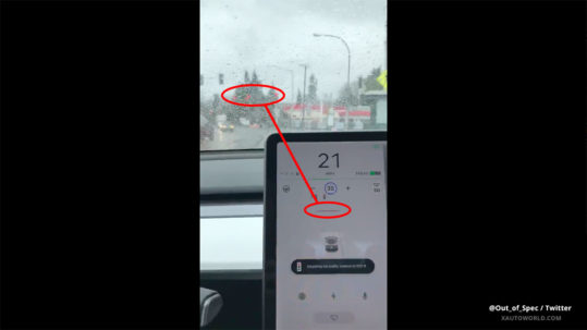 Tesla Autopilot stopping for red lights with anticipation.
