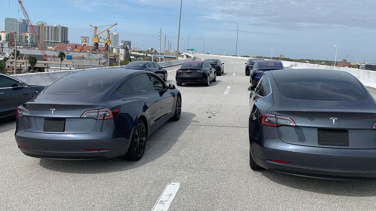Filming for Tesla Model 3 autonomous fleet for a Netflix movie.