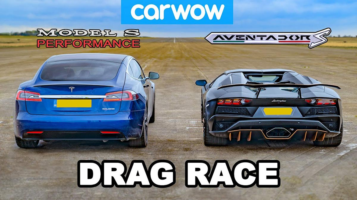 Tesla Model S P100D vs. Lamborghini Aventador S Roadster drag race.