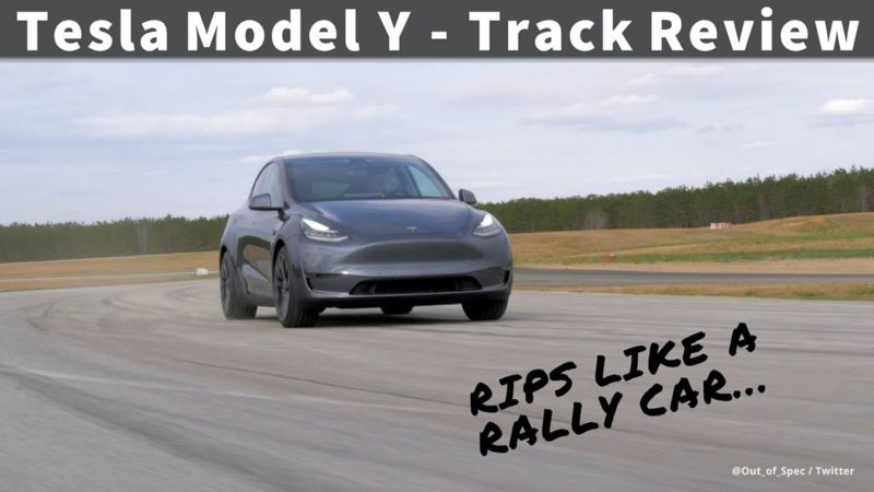 Tesla Model Y tested on the track for drifting.