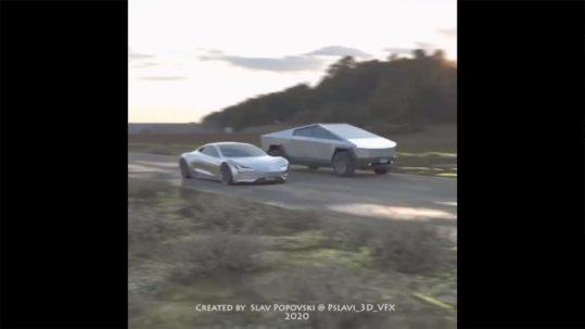 Tesla Cybertruck vs. Next-gen Roadster drag race imagined in a 3D rendering video.