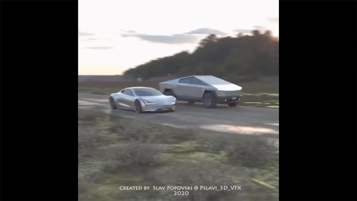 Tesla Cybertruck vs. Roadster drag race imagined in a 3D VFX video