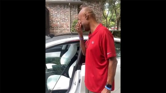 NFL gifts his father a new Tesla Model 3 on Fathers' Day.