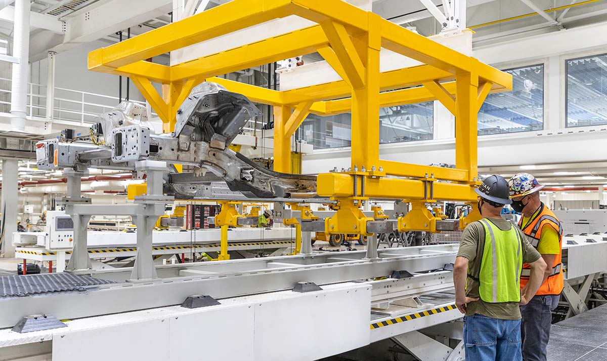 Rivian pilot production line at the automker's Normal, IL manufacturing plant.