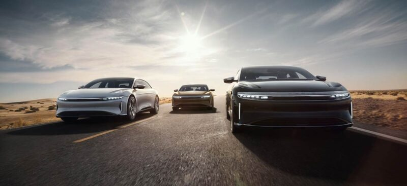 Three Lucid Air variants in a single picture.Three Lucid Air variants in a single picture.