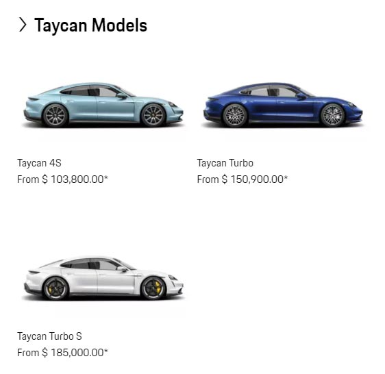 Porsche Taycan prices for the Turbo, Turbos S, and 4S.