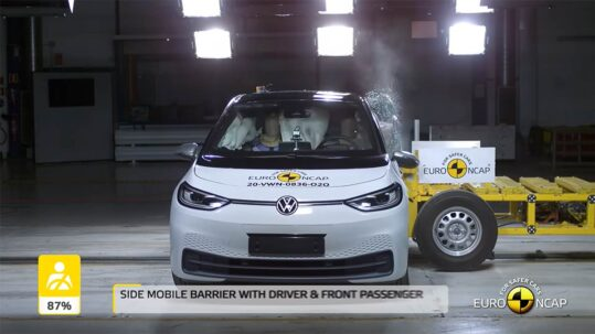VW ID.3 being tested for the side impact crash test by Euro NCAP.