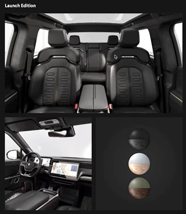 Rivian R1T/R1S Black Mountain interior finish.