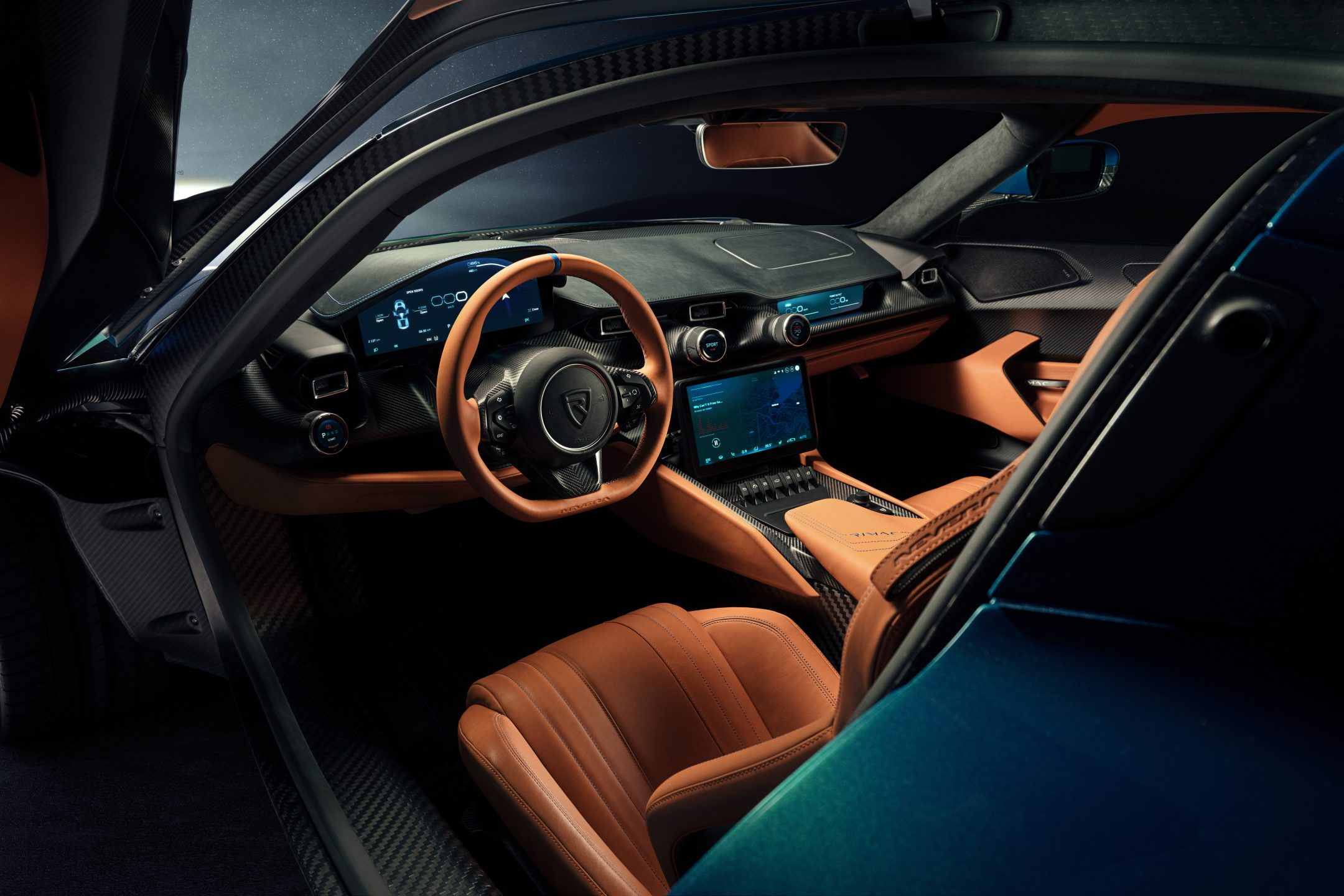 The interior of Rimac Nevera electric hypercar.